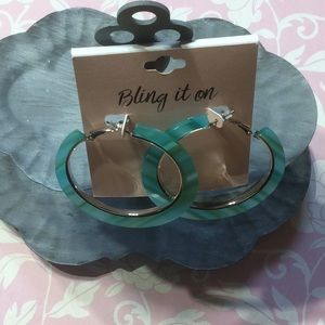 NWT Bling it on turquoise hoop earrings